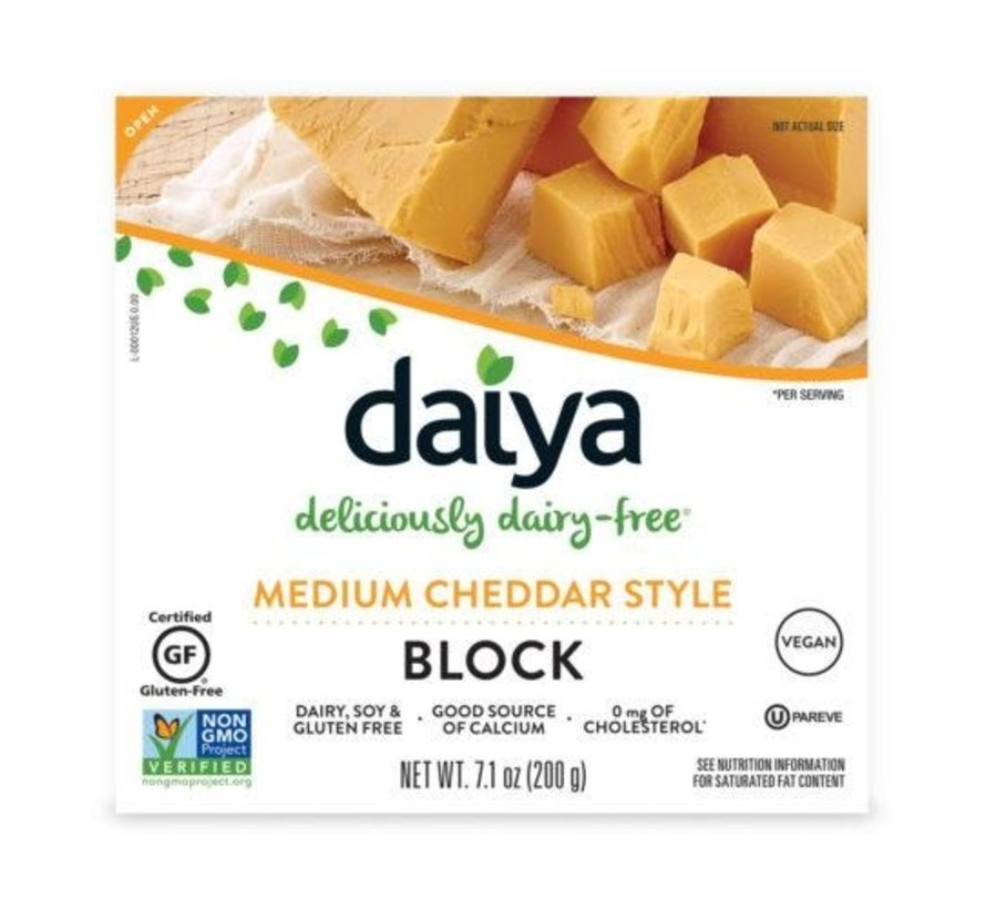 Medium Cheddar Style Block - Daiya -  8 x 200g (NL back-label)