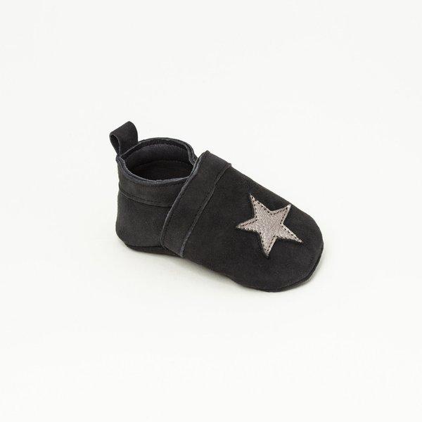 Patt'touch Chaussure bébé slipper | Gwenaël Noir/Argent