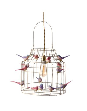 DUTCH DILIGHT hanglamp vogeltjes groot pastelroze goud