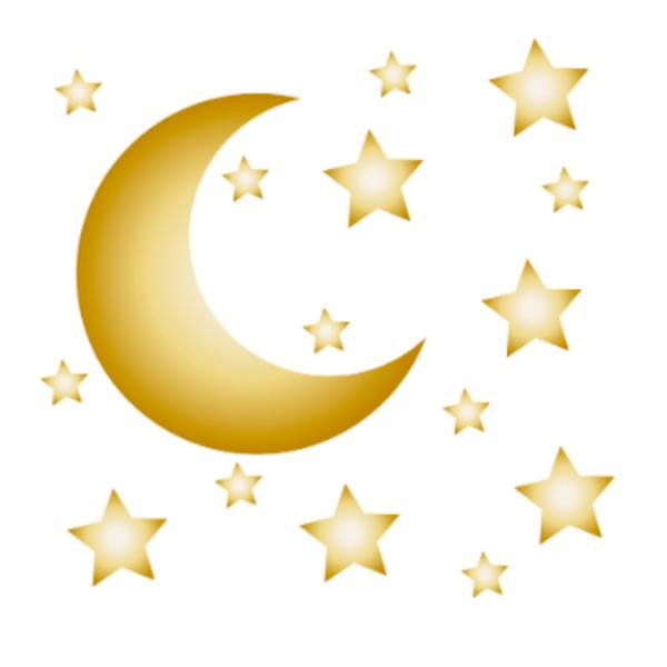 LM Baby Art Maan en sterren muurstickers goud