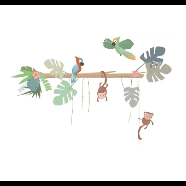 LM Baby Art Jungly jungle - Boomstam met papegaaien en aapjes muurstickers - 95x65cm