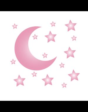 LM Baby Art Maan en sterren muurstickers roze
