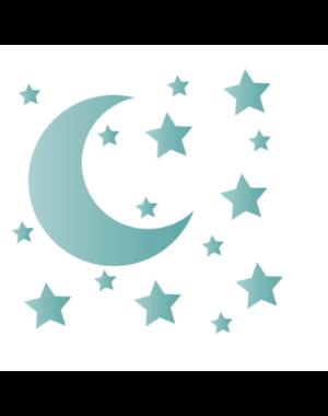LM Baby Art Maan en sterren muurstickers blauwgroen