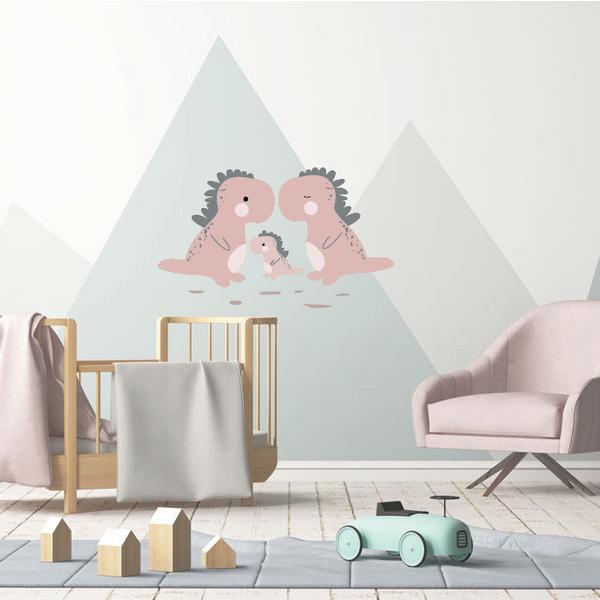 LM Baby Art Dino familie muursticker roze - 40x40cm