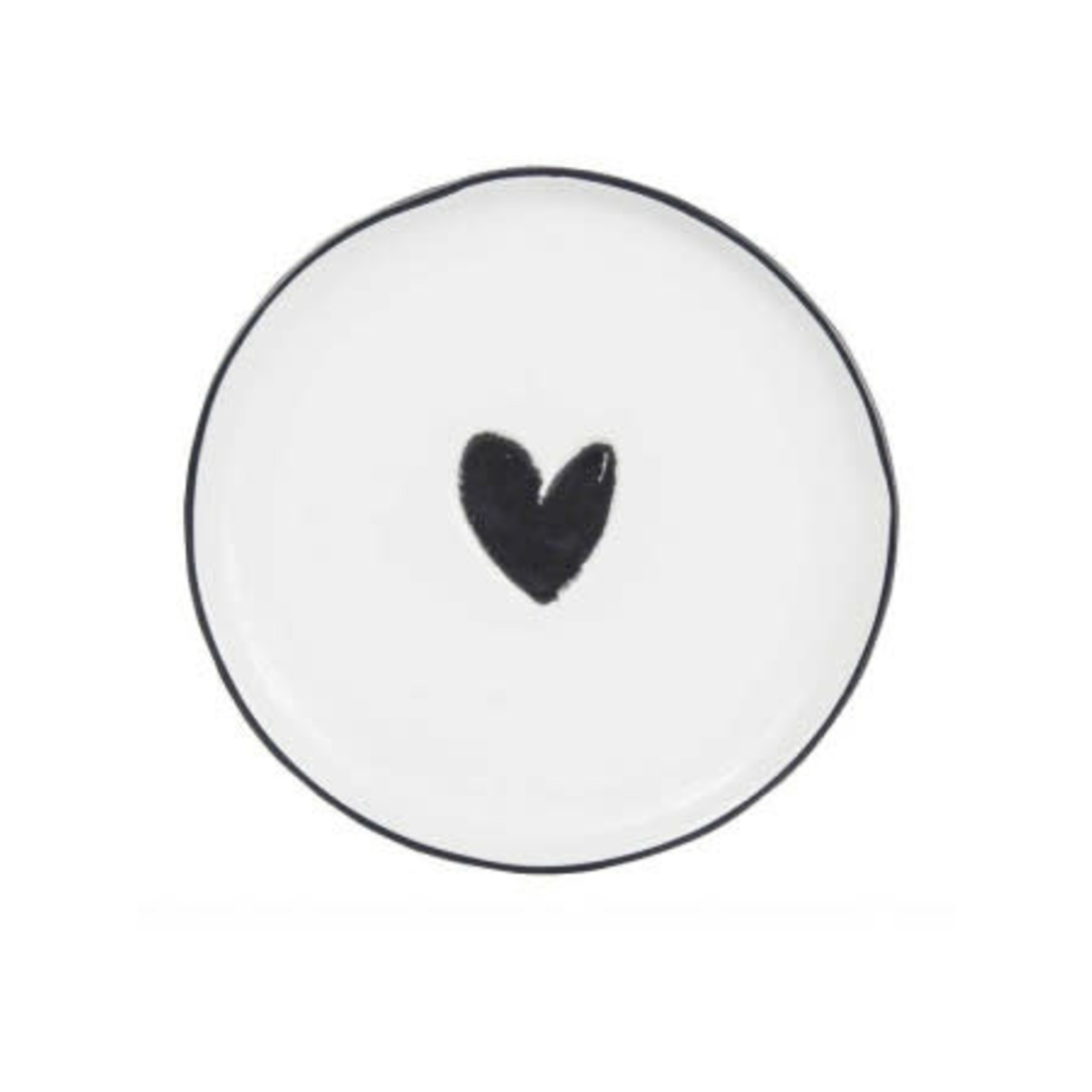 Bastion Collections Cake Plate 16 cm White Heart in Black