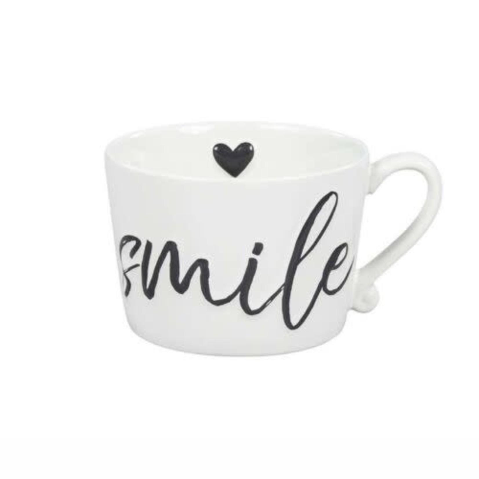 Bastion Collections Mug large White Smile in Black