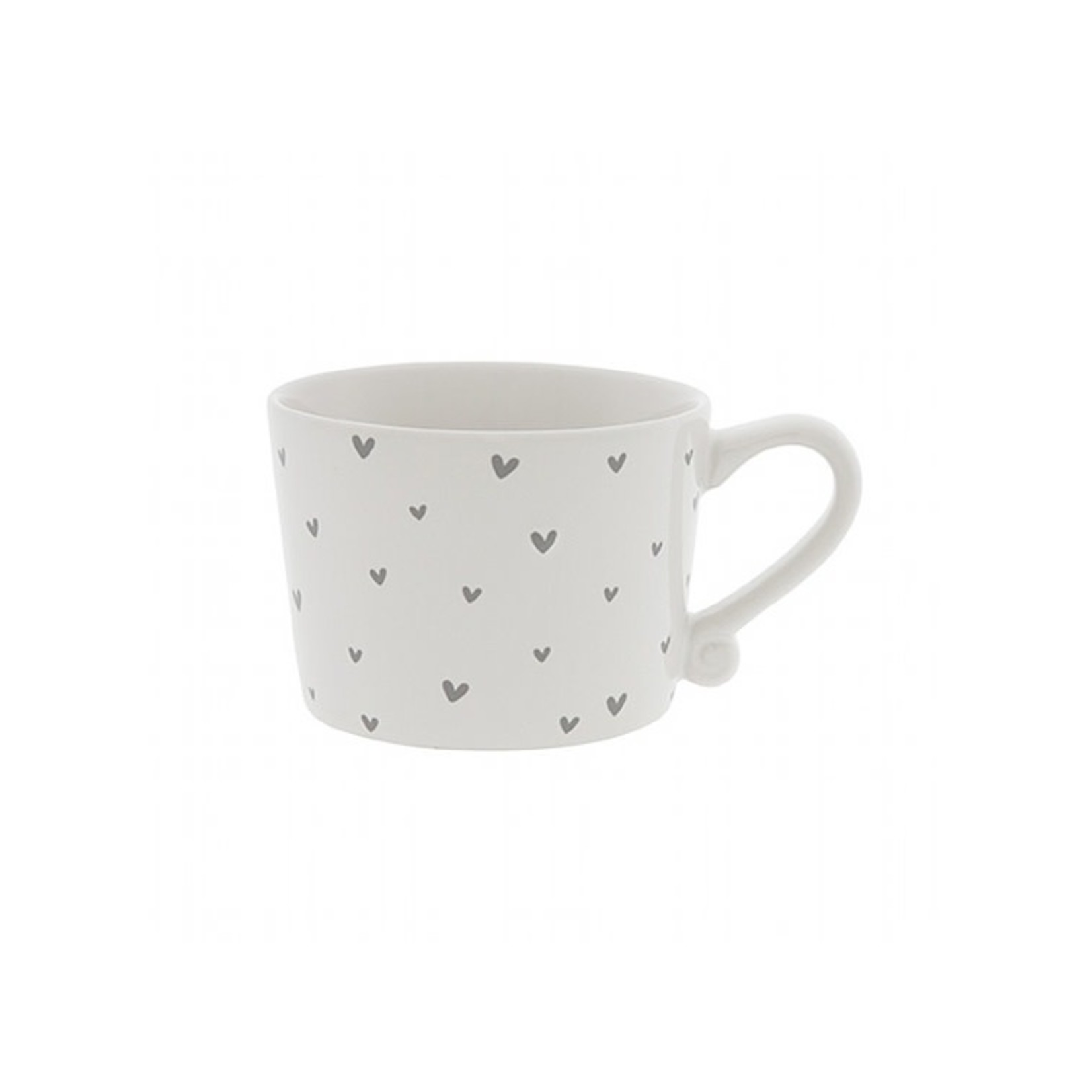 Bastion Collections Cup small White Hearts in Watercolor Grey