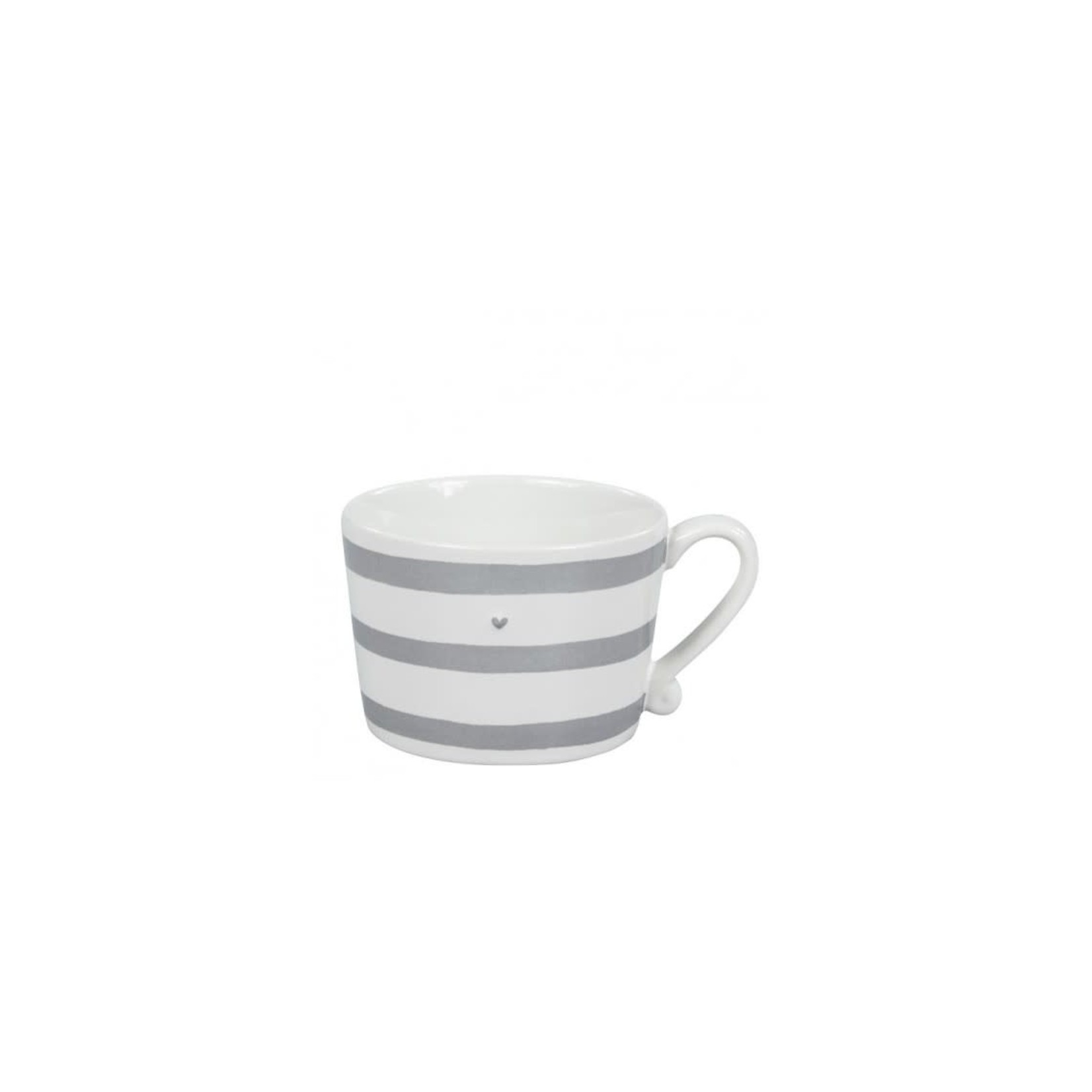 Bastion Collections Mug large White Heart Stripes in Grey