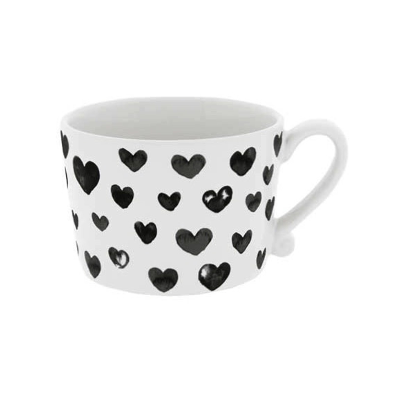 Bastion Collections Cup large White Hearts in Black