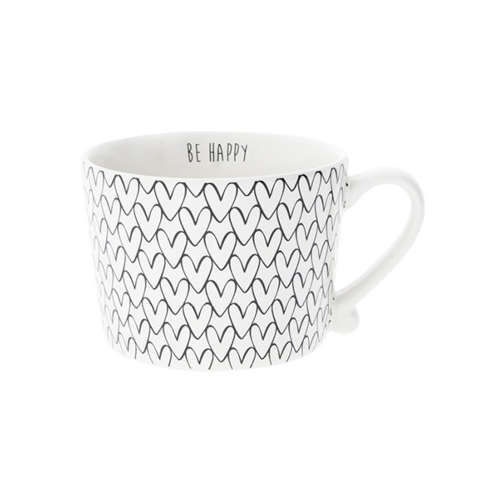 Bastion Collections Mug large White Hearts Patern in Black