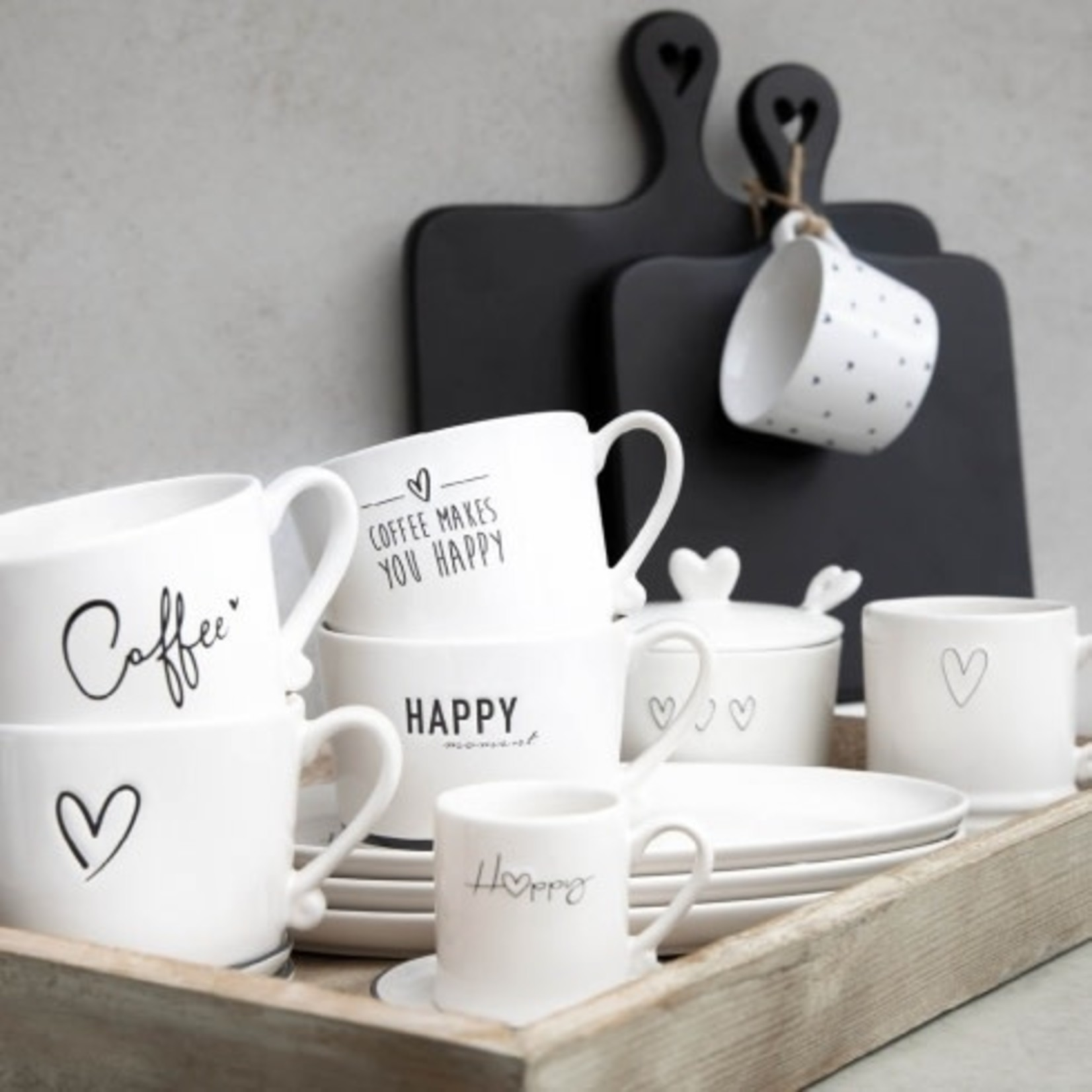 Bastion Collections Mug small White Little Hearts in Black