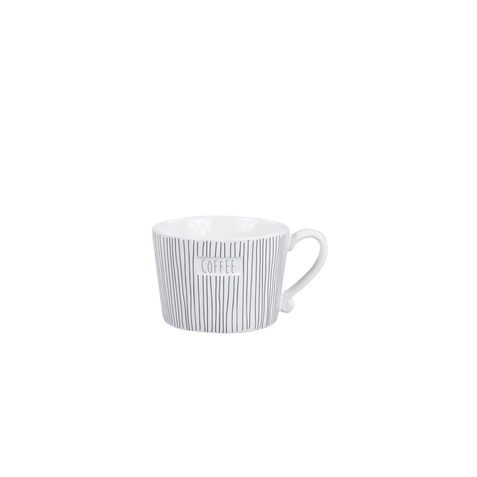Bastion Collections Mug small White Stripes & Coffee in Grey