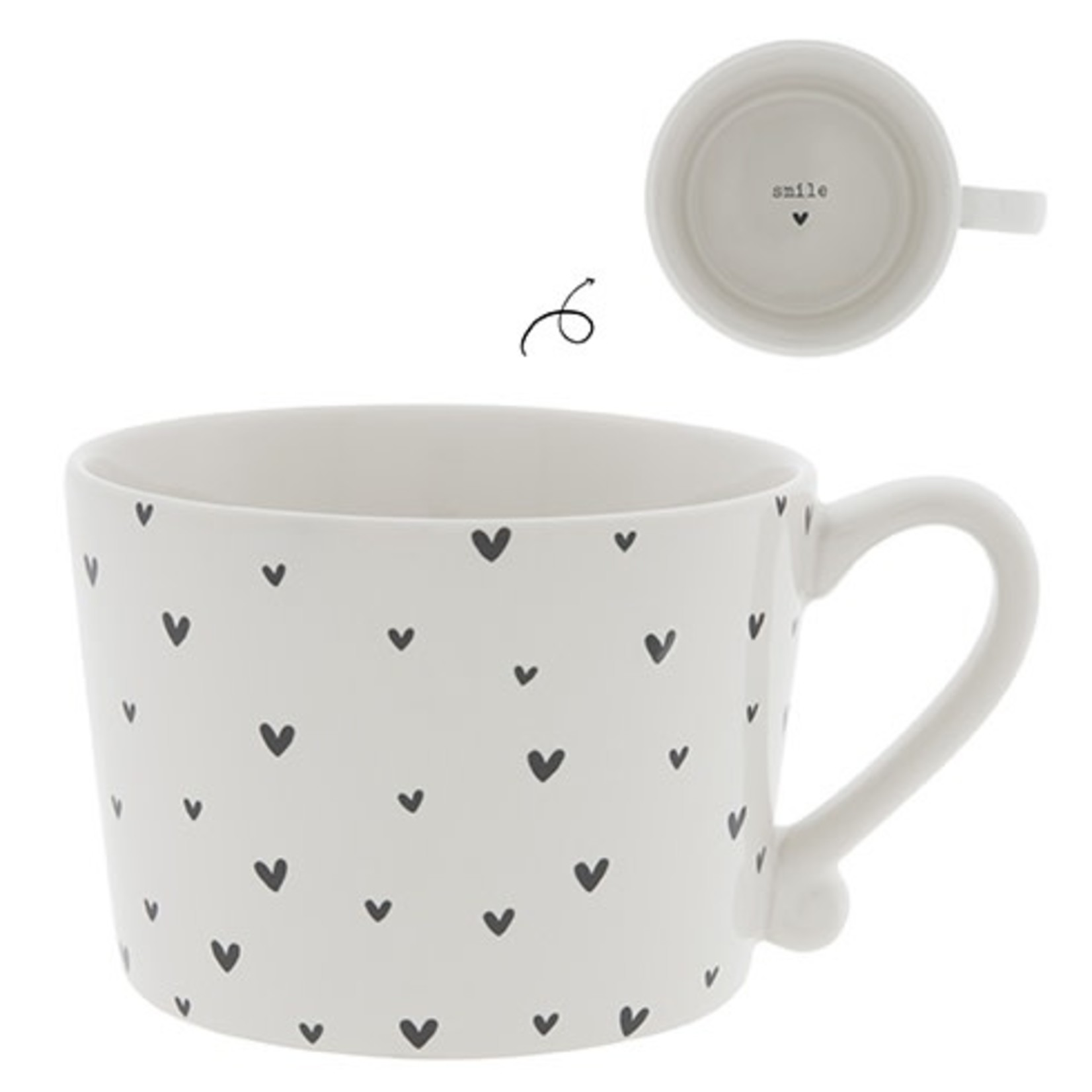 Bastion Collections Mug large White Little Hearts in Black
