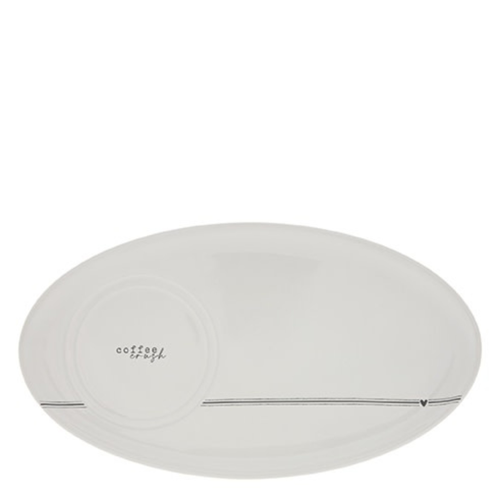 Bastion Collections Oval Plate White  Coffee Crush in Black
