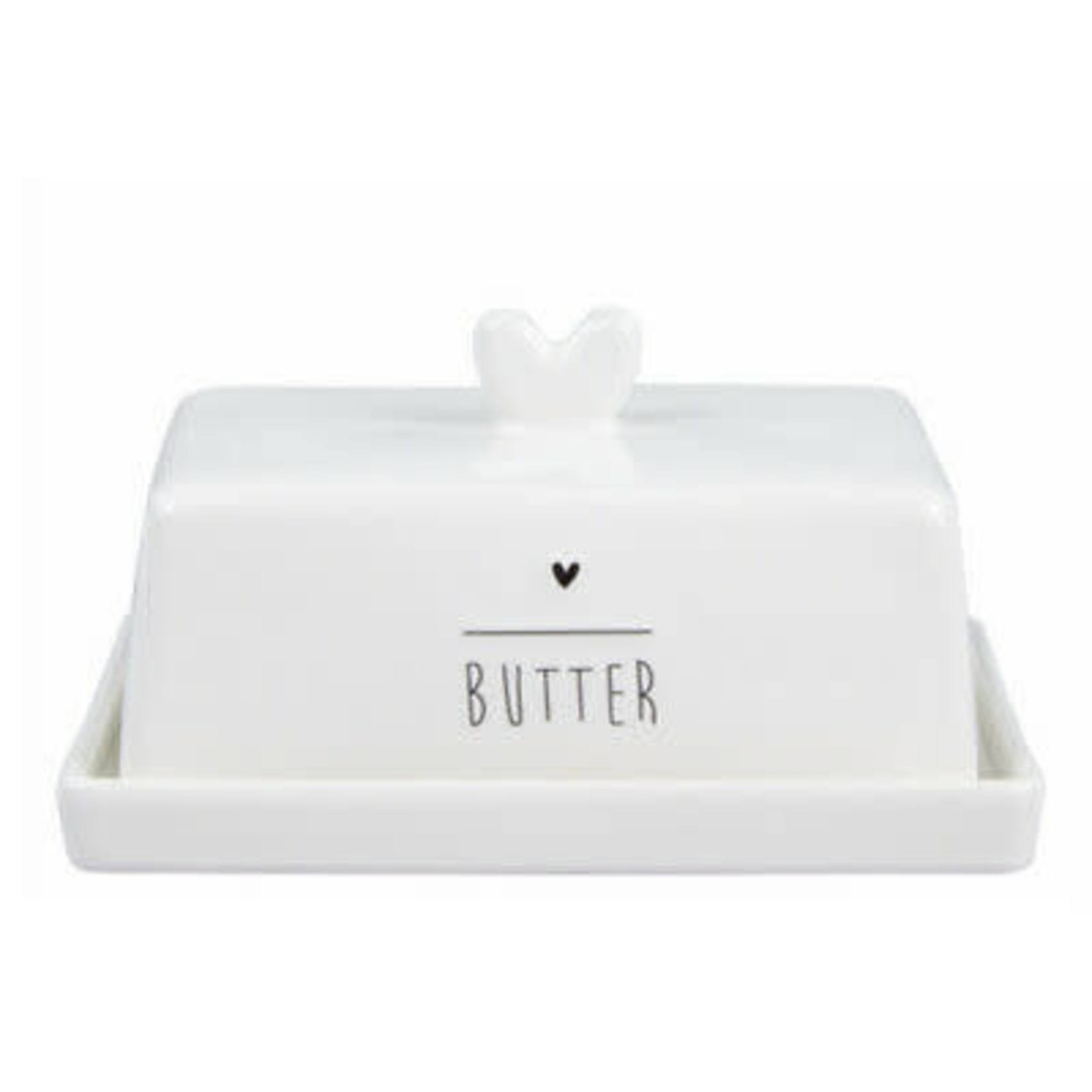 Bastion Collections Butter Dish White Heart in Black