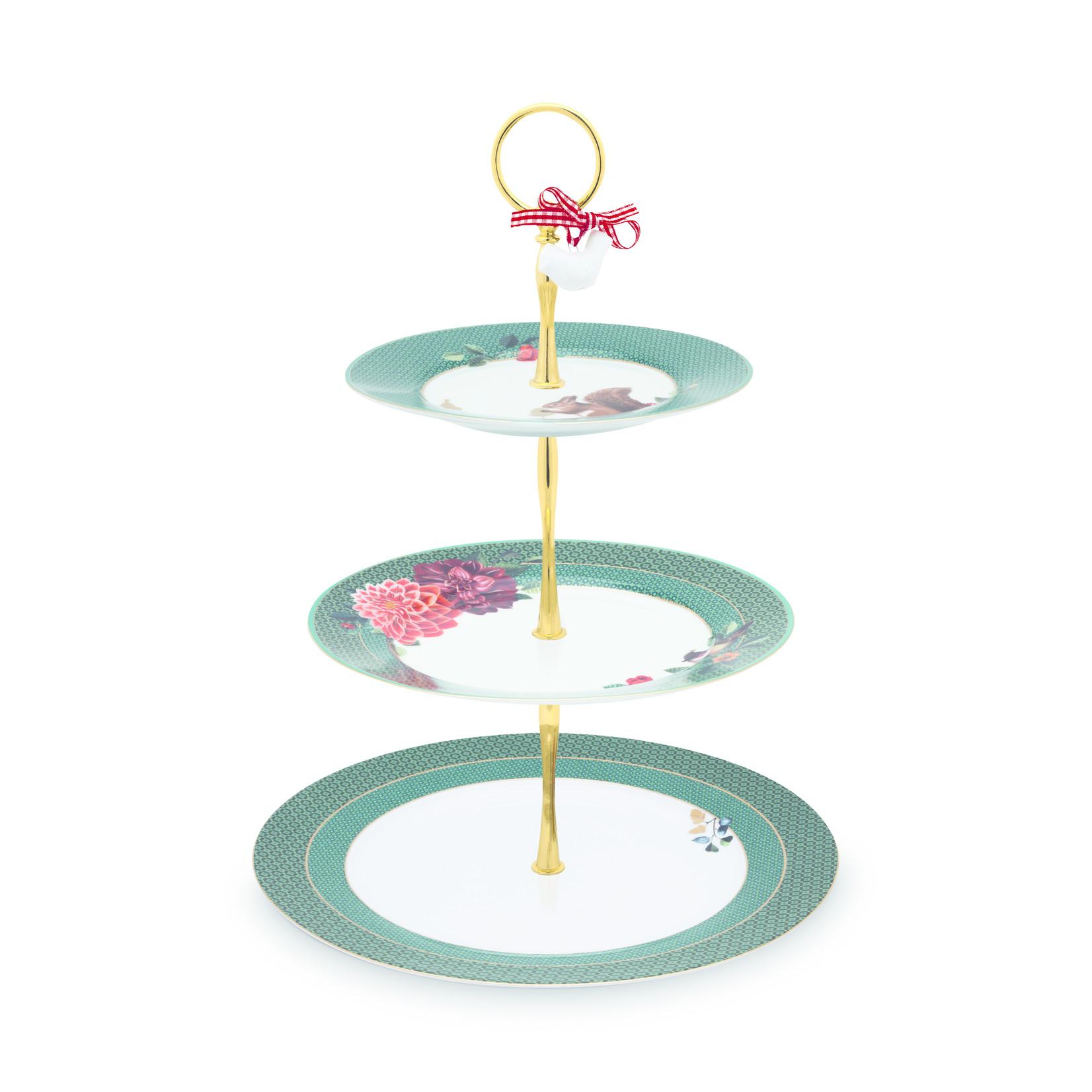 PIP Studio Cake Stand 3/Layers Winter Wonderland Green 17-21-26.5cm