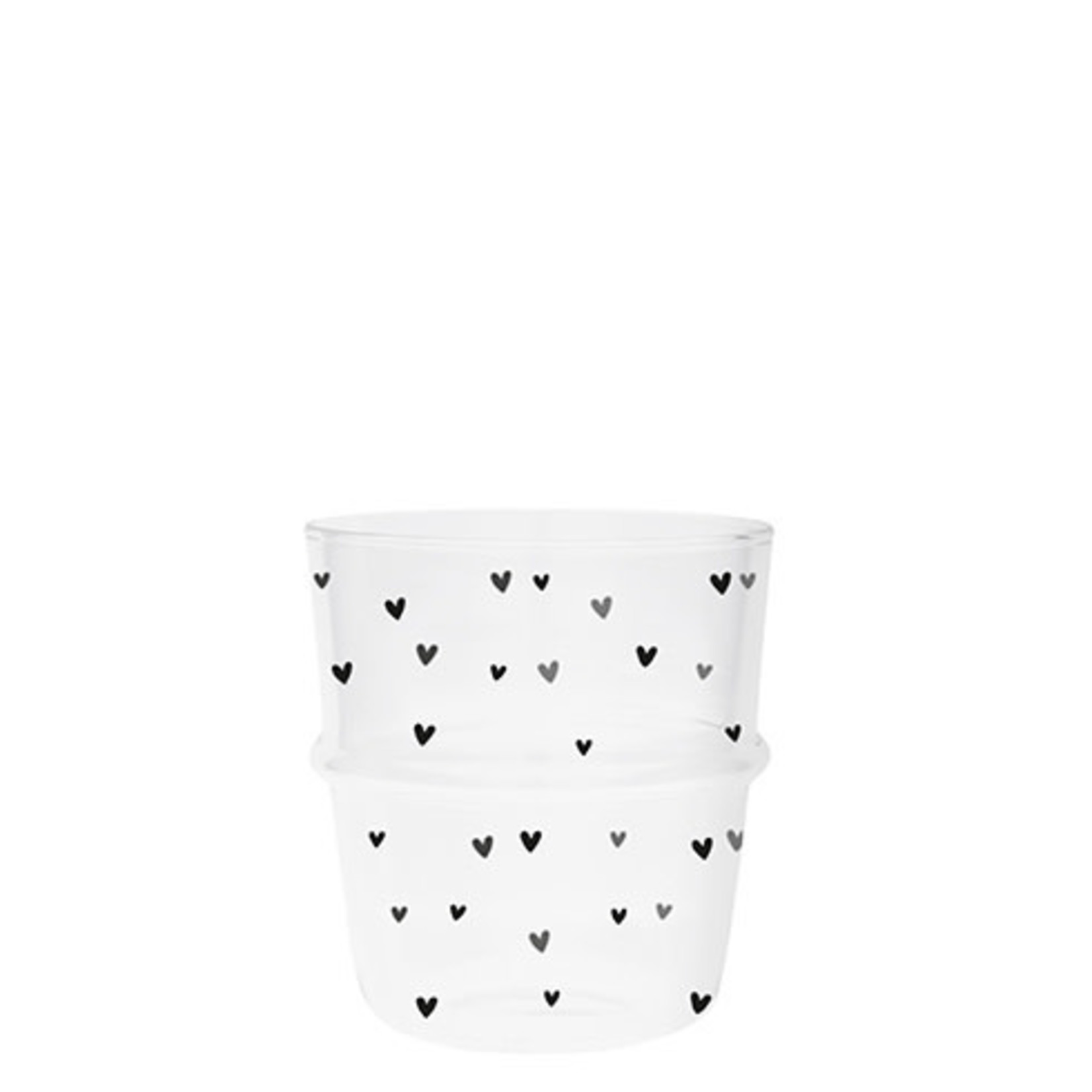 Bastion Collections Water Glass Hearts in Black