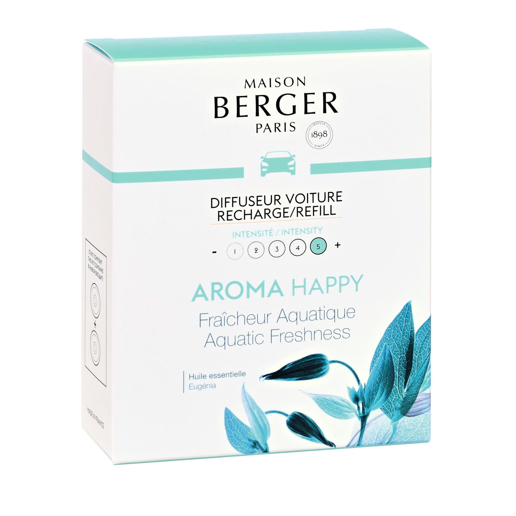 Lampe Berger Autoparfum navulling 2 stuks Happy - Fraîcheur Aquatique /  Aquatic Freshness