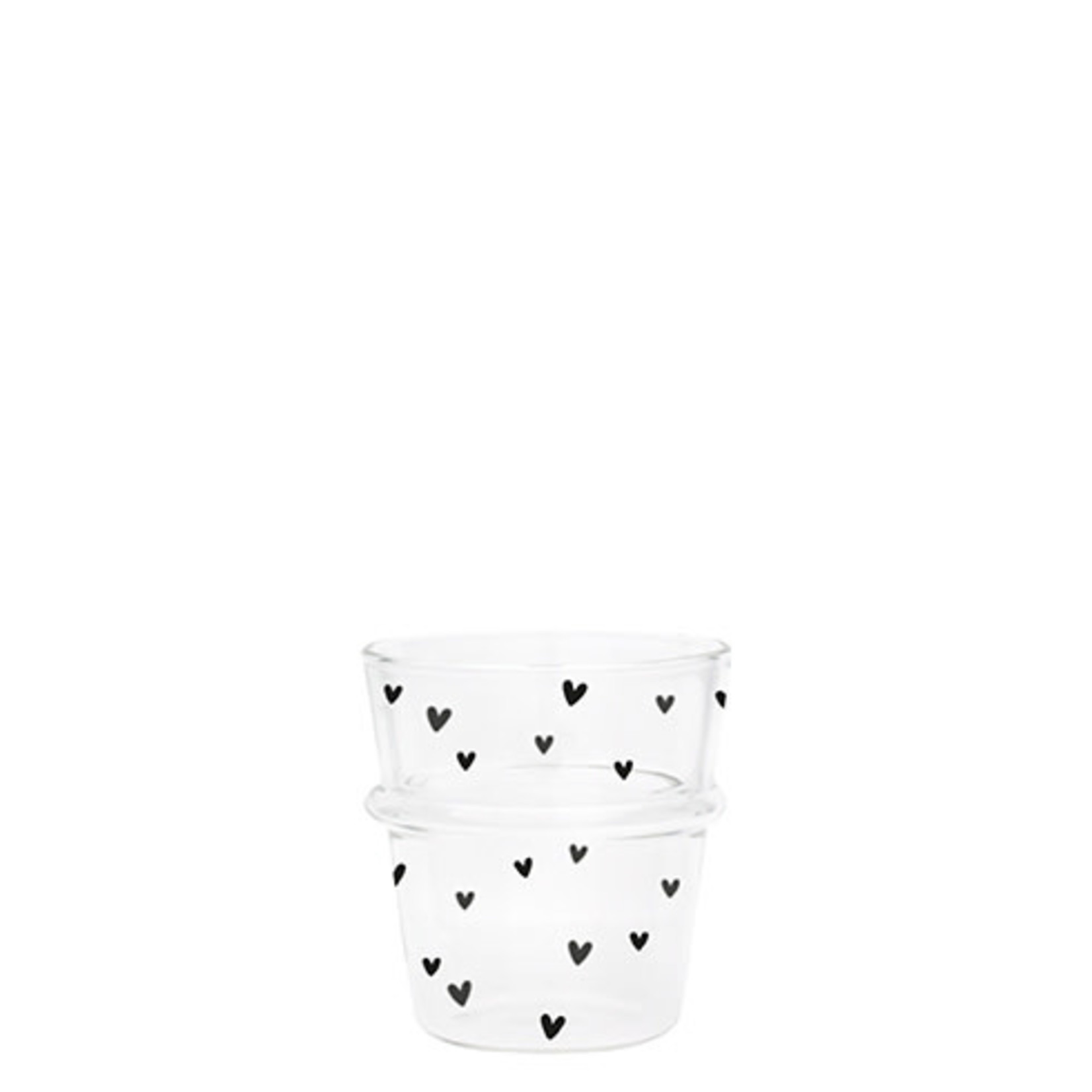 Bastion Collections Espresso Glass Hearts in Black