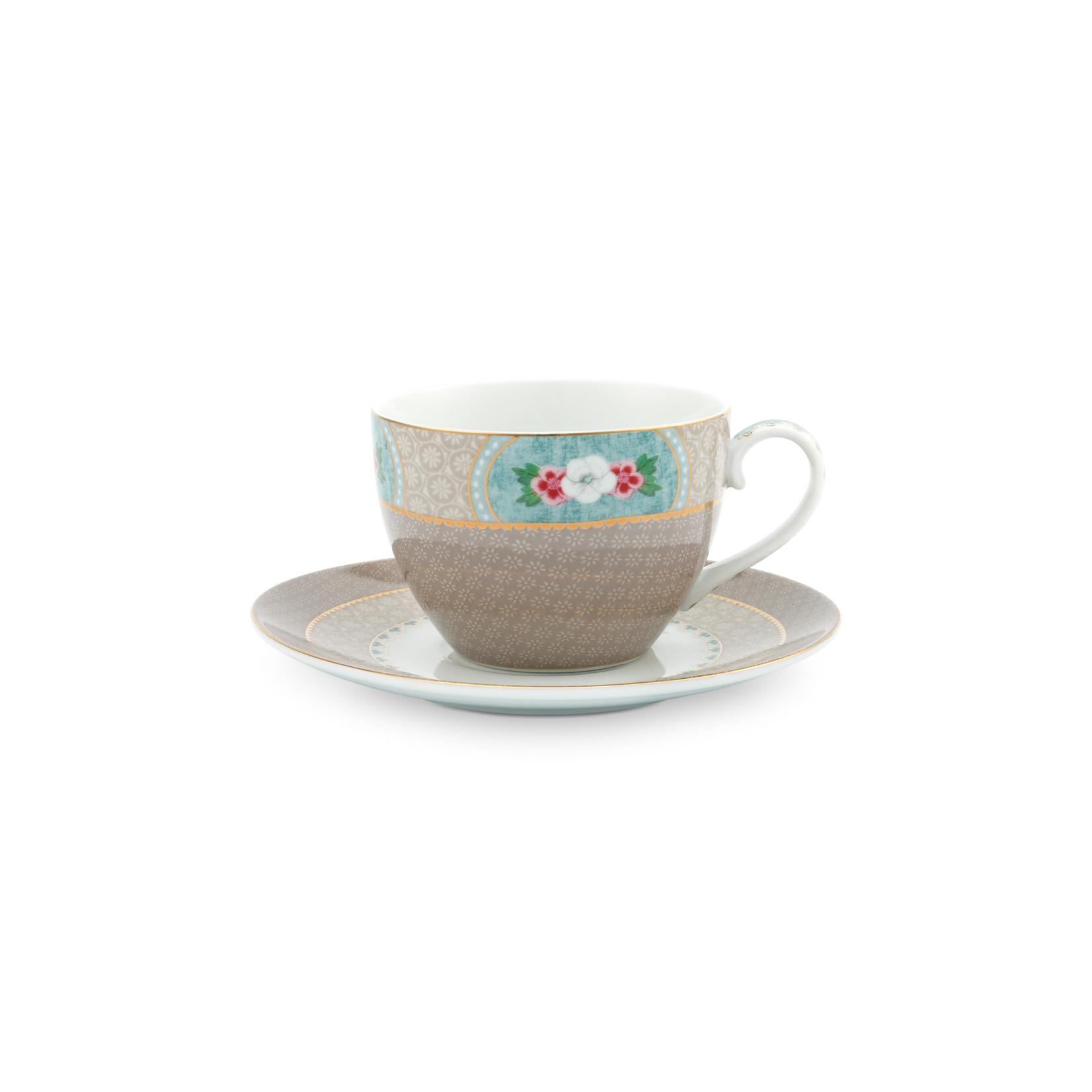 PIP Studio Cup & Saucer Blushing Birds Khaki 280ml