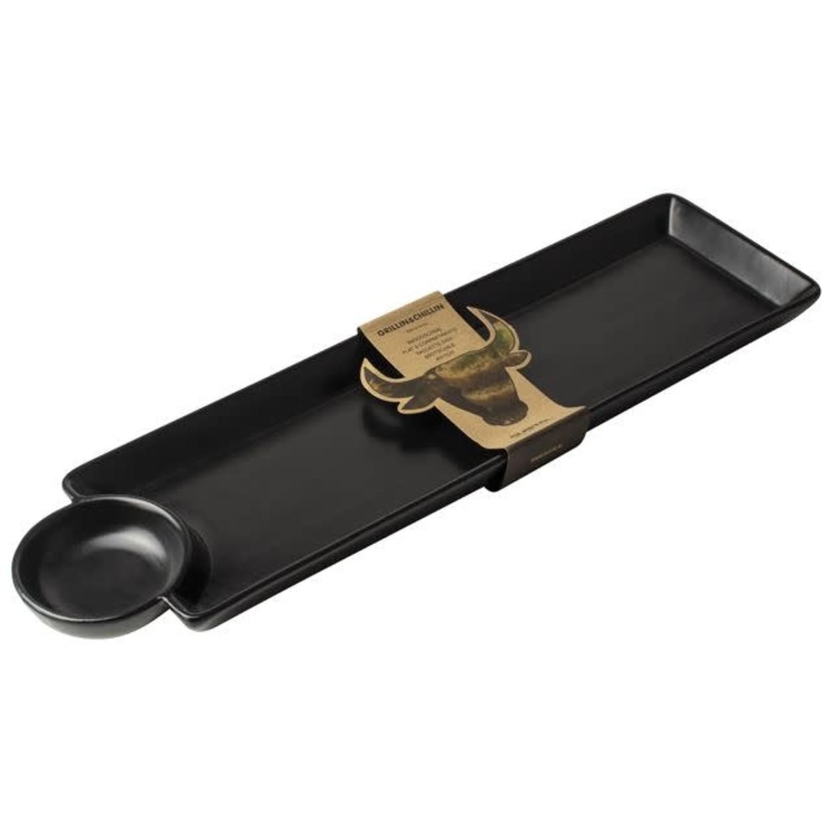 Gusta Hapjesschaal met dip 41x11cm Zwart