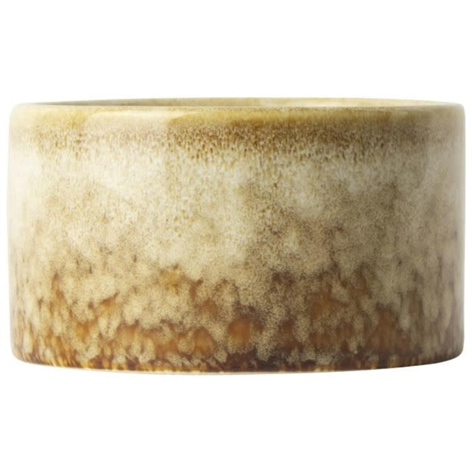 Gusta Kaars in keramiek pot ø8,6xH4,9cm Bruin/Oker