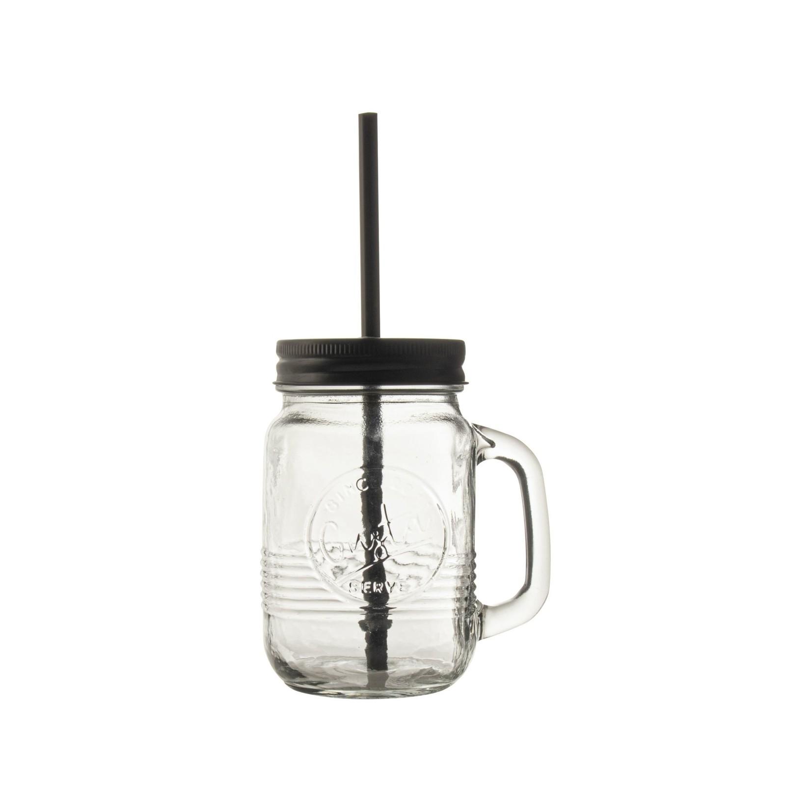 Gusta Mason Jar 500ml met rietje In a Jar