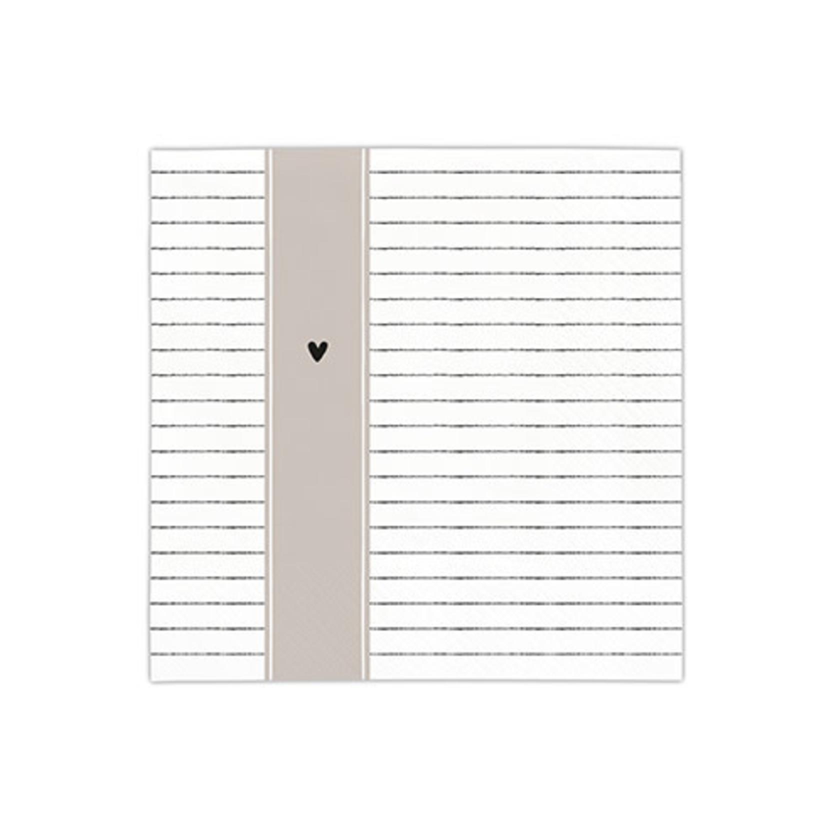 Bastion Collections Napkin White Stripes Smile in Black/Titane 20 pcs