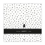 Bastion Collections Napkin Feeling Happy Today White in Black