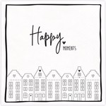 Bastion Collections Napkin Happy Moments white in black