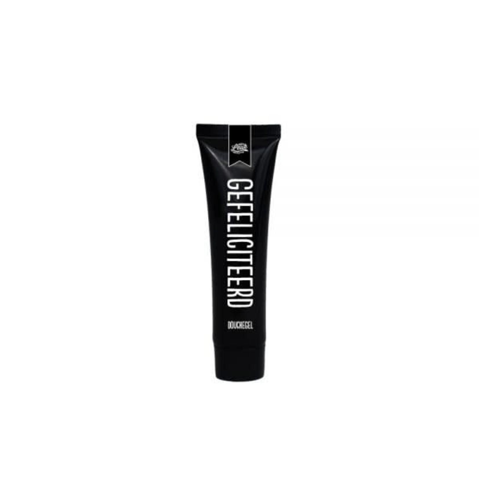 100% leuk Mini tube douchegel zwart - Gefeliciteerd