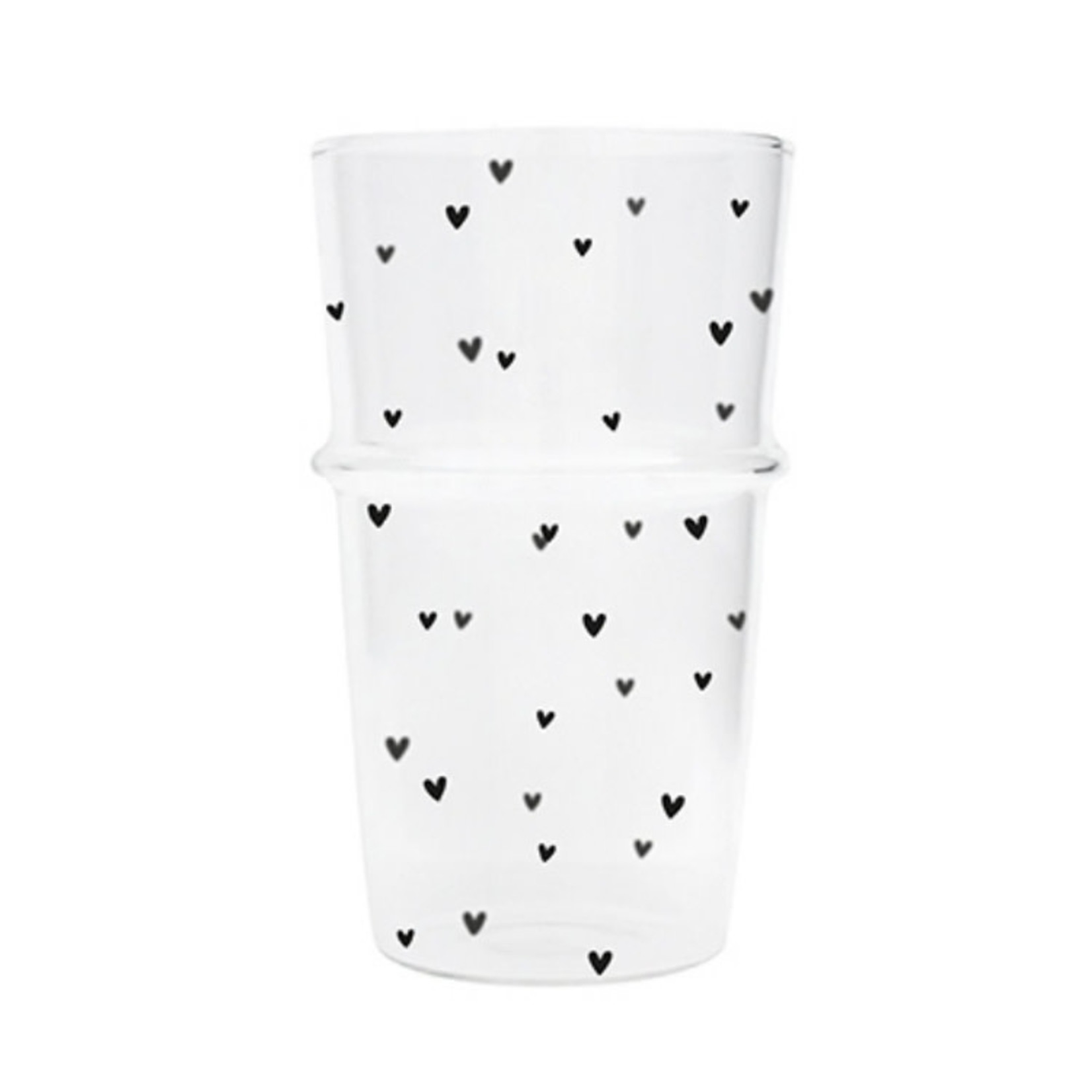 Bastion Collections Glass Latte Hearts in Black