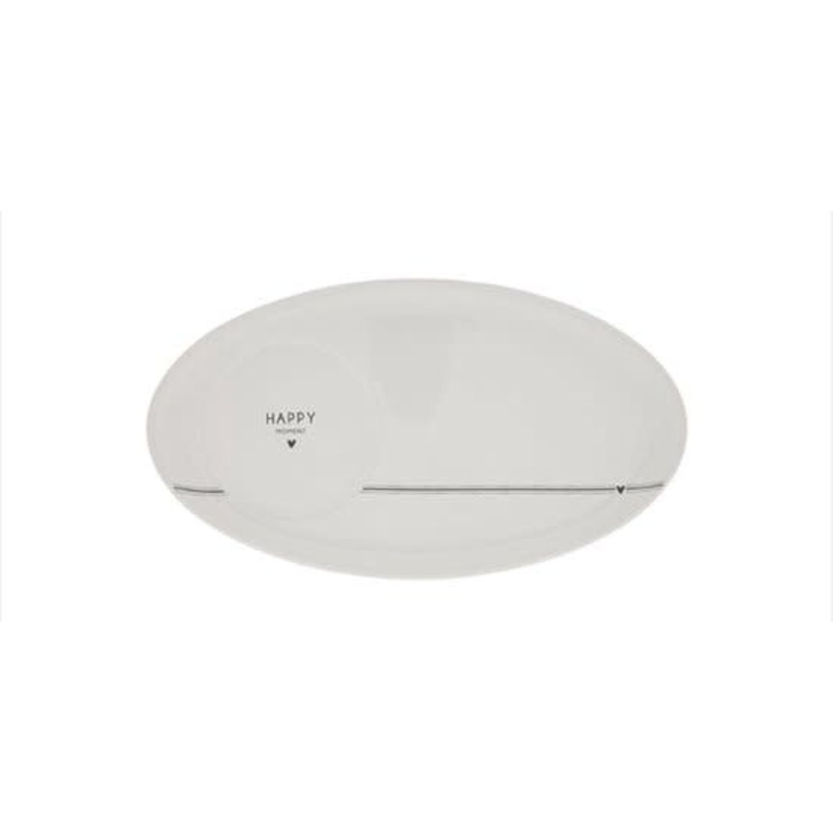 Bastion Collections Oval Plate White Happy Moment in Black