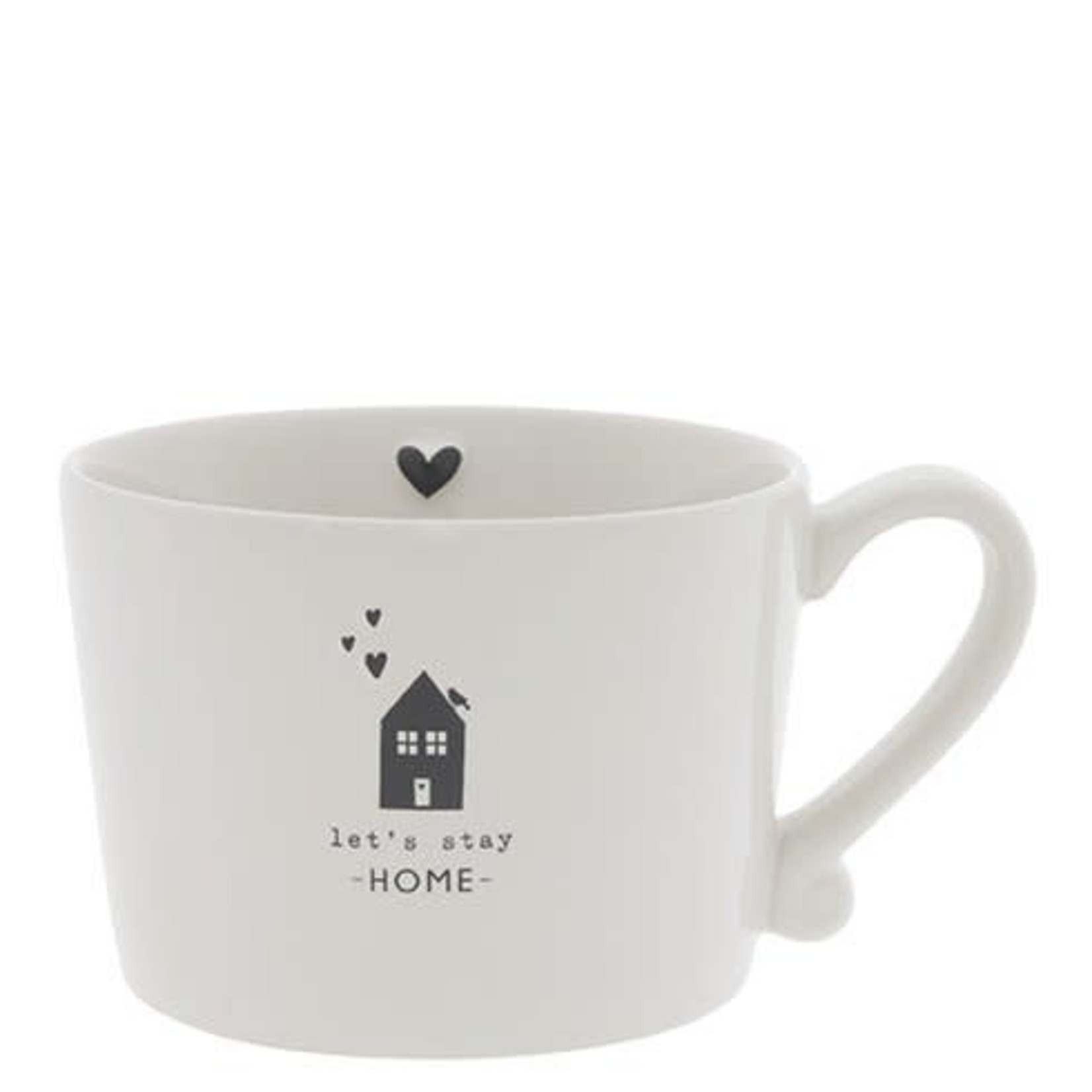 Bastion Collections Cup large White Let's Stay Home in Black