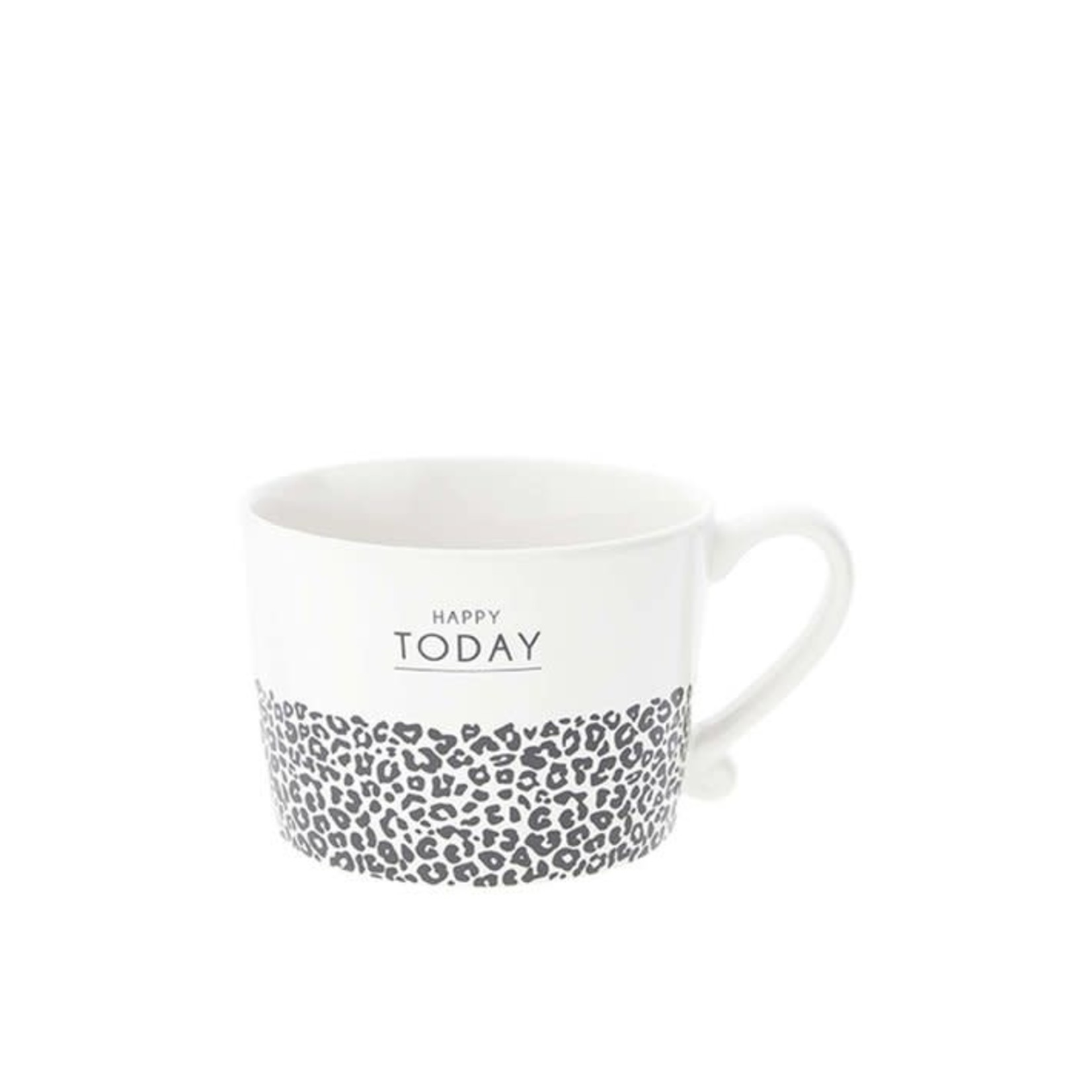 Bastion Collections Cup large White Happy Today & Leopard in Black