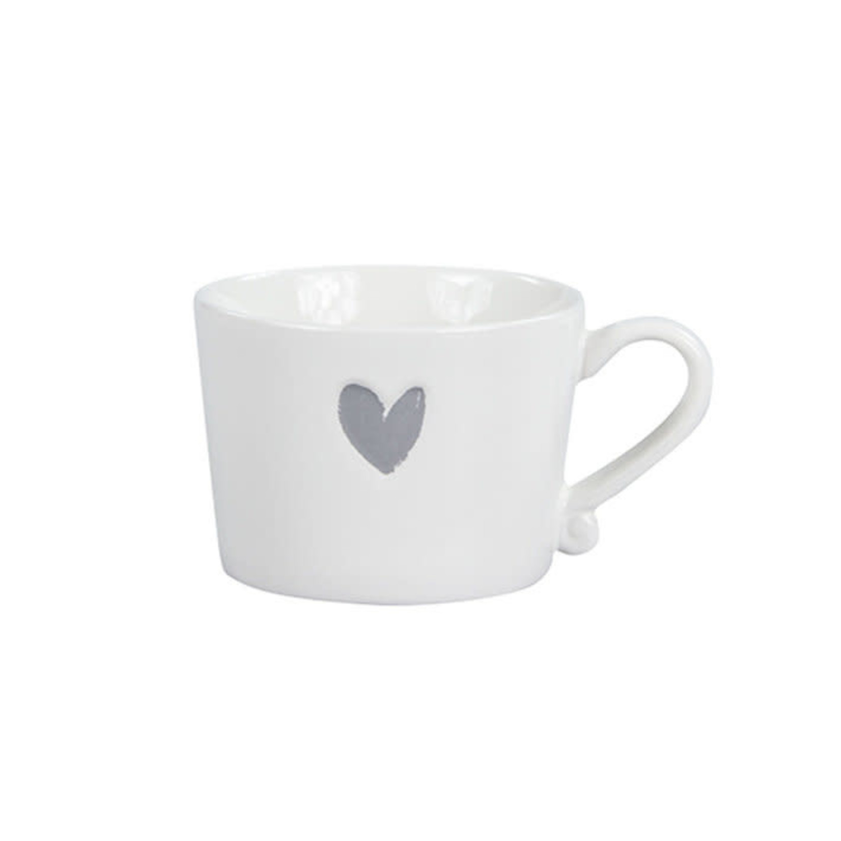 Bastion Collections Mug small White Heart in Grey
