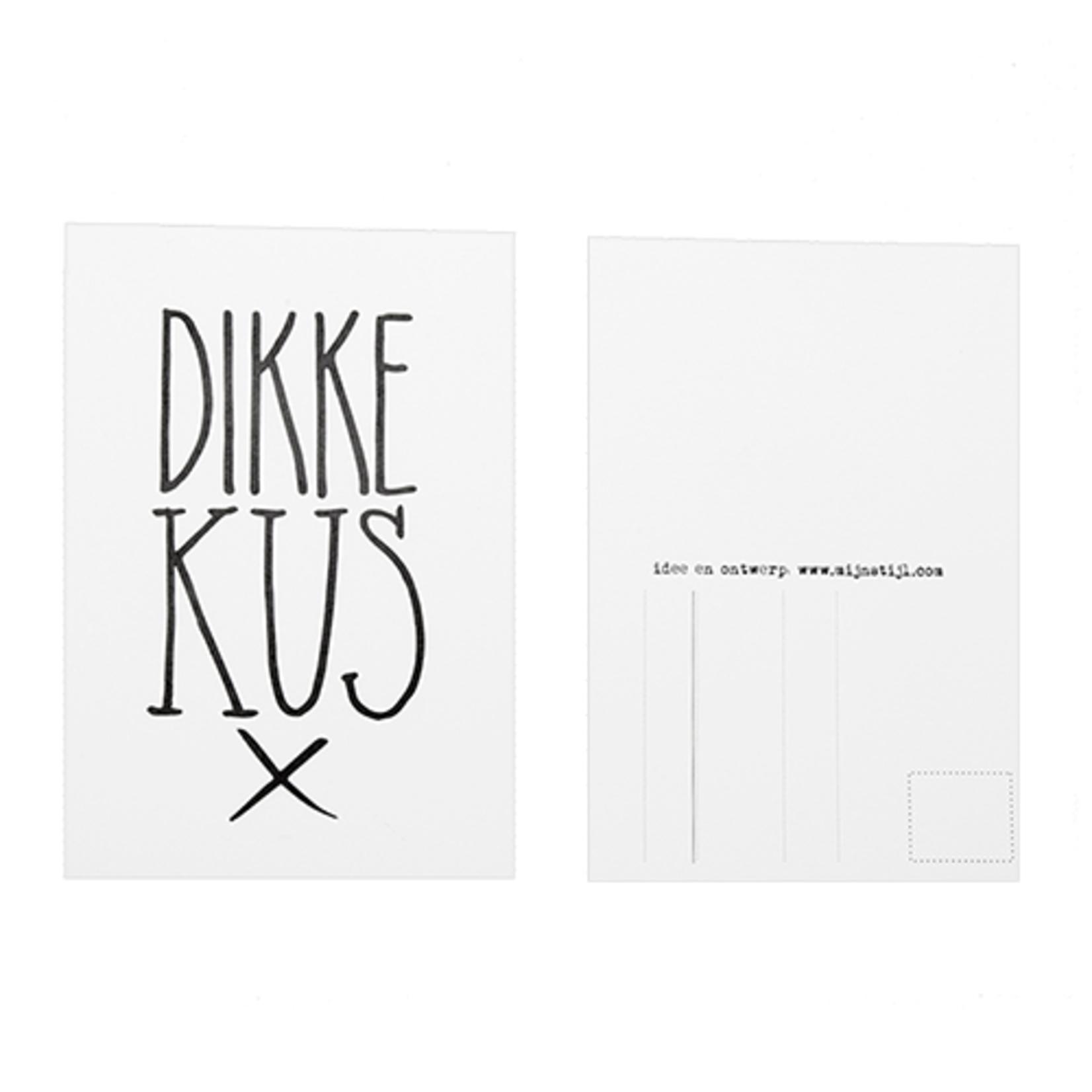 Mijn Stijl Ansichtkaart Dikke Kus X wit/zwart
