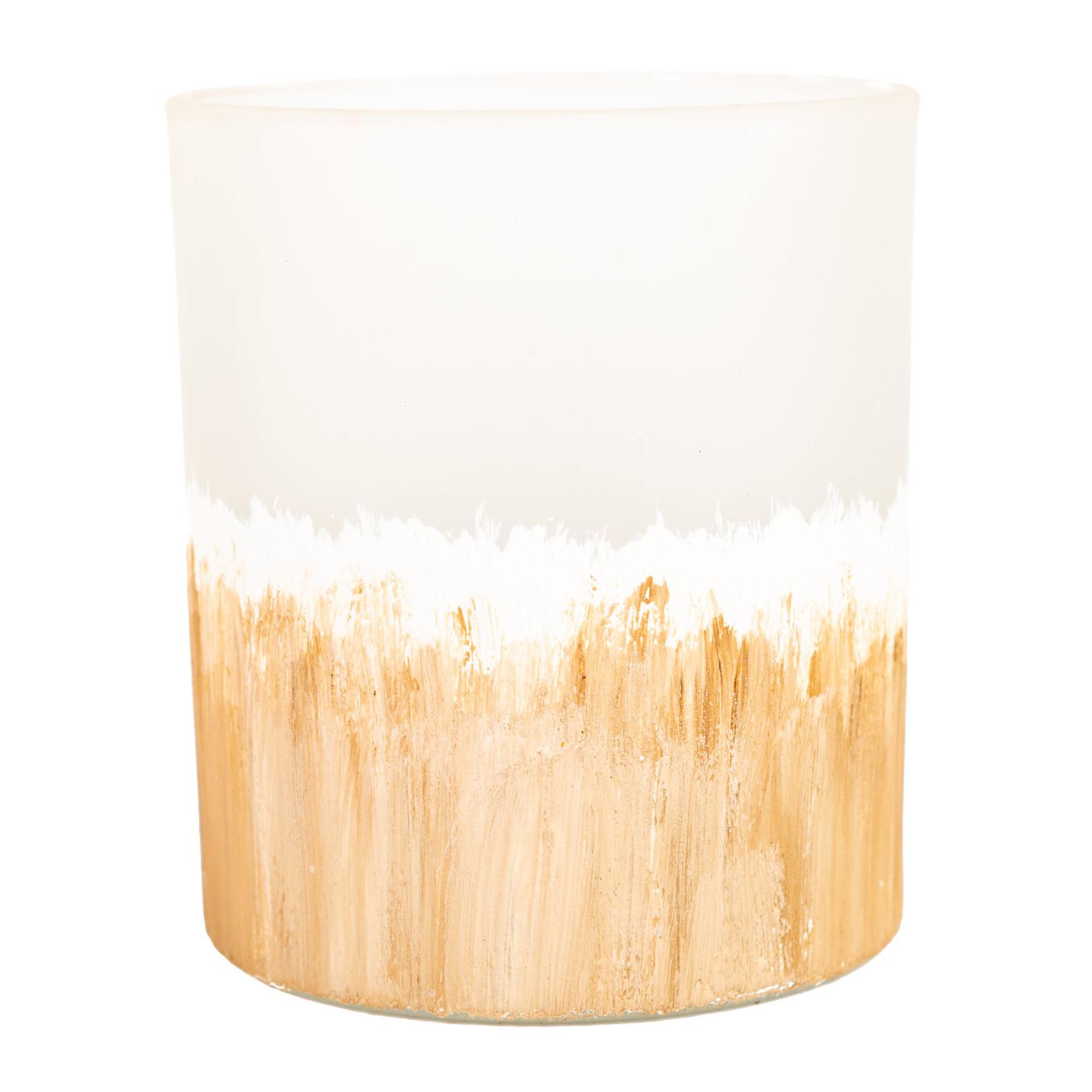 Home Society T-Light / Waxinelichtje Fynn zand/wit L