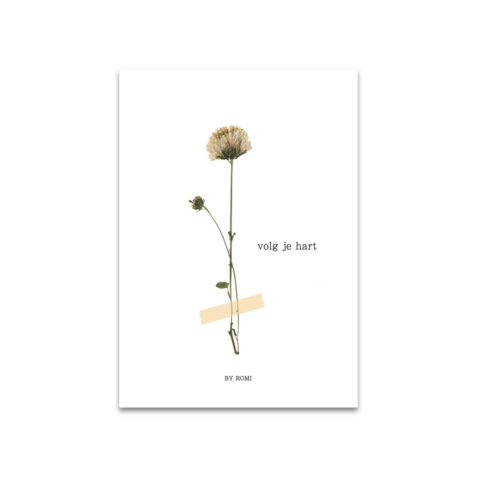 By Romi Creative Studio Ansichtkaart Volg je hart