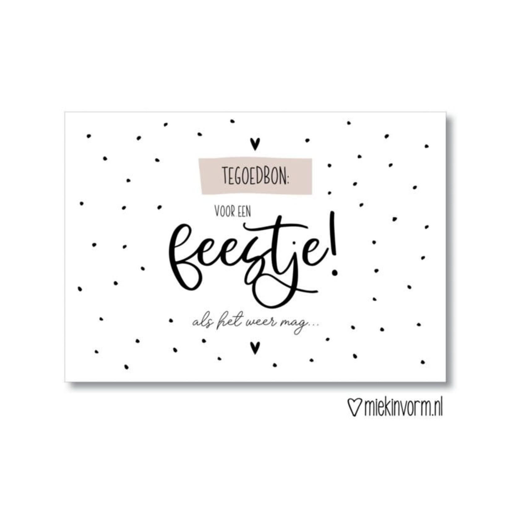 MIEKinvorm Ansichtkaart Tegoedbon: voor een feestje! ...