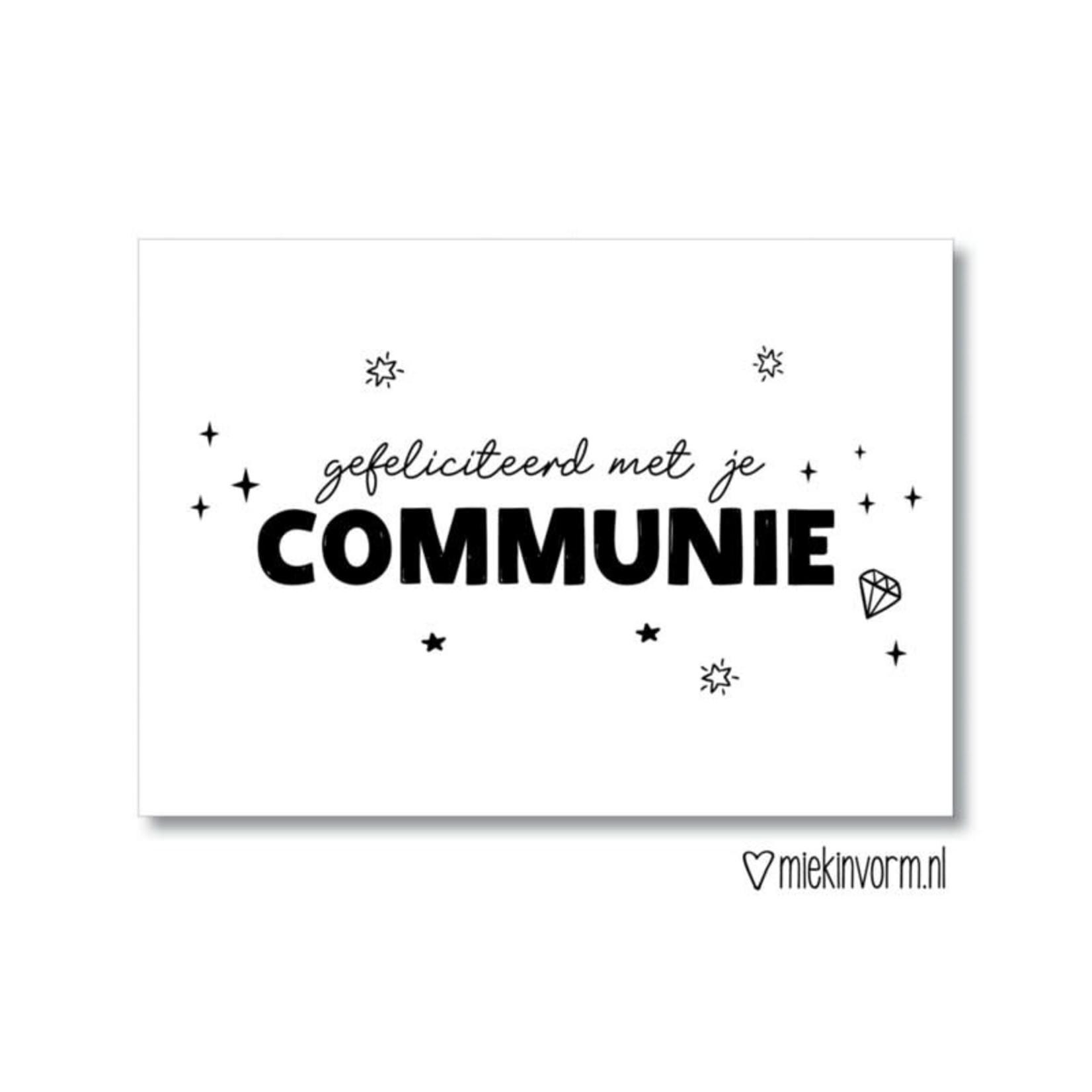 MIEKinvorm Ansichtkaart Gefeliciteerd met je communie