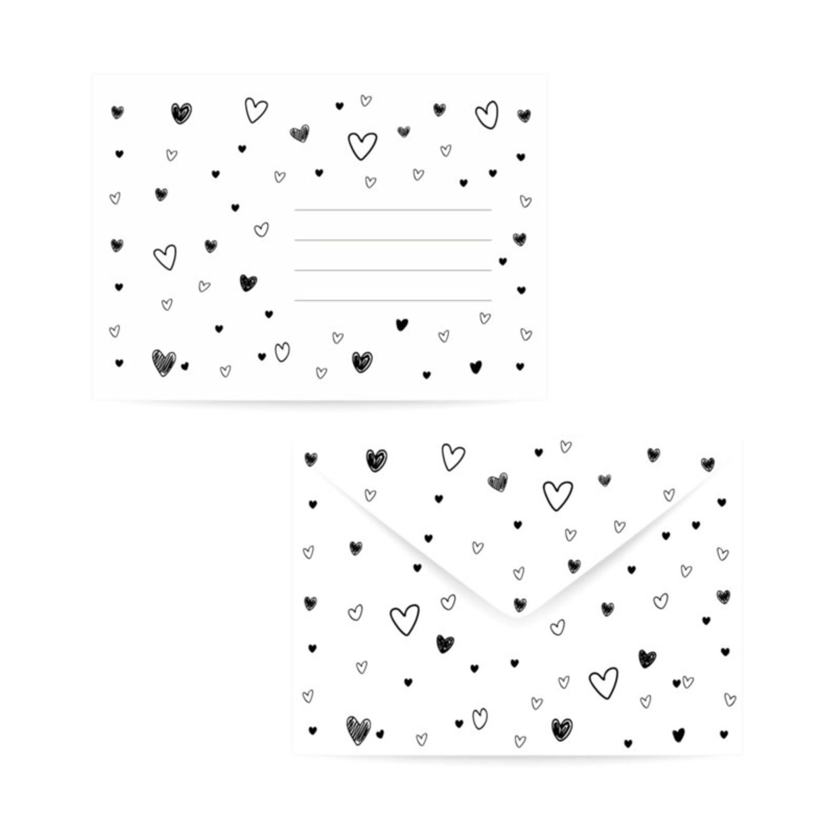winkeltjevananne Enveloppe Hartjes zwart/wit