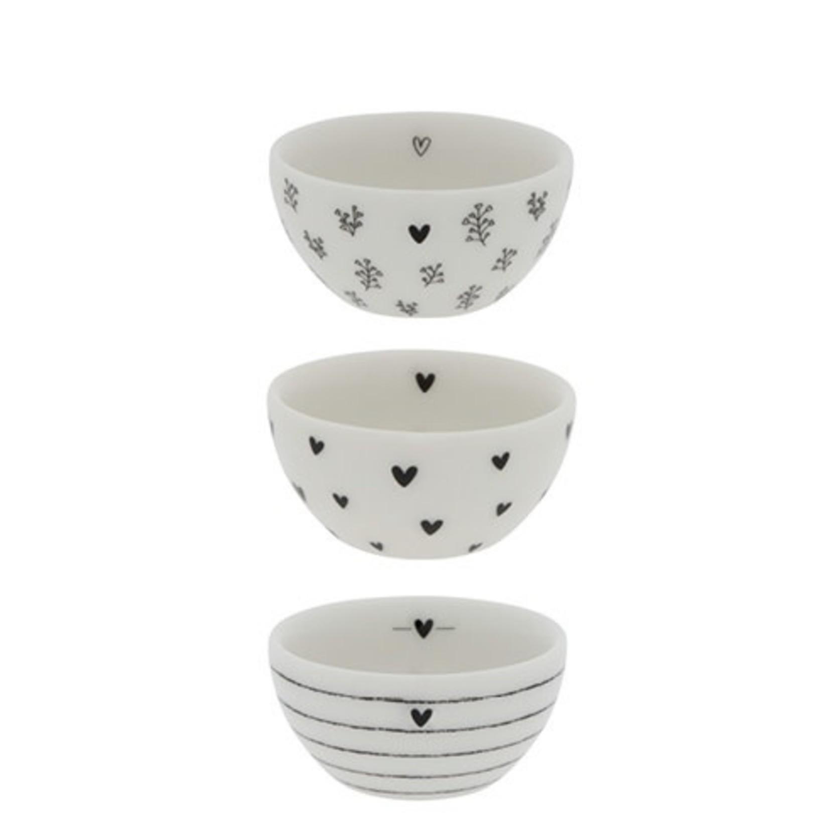 Bastion Collections Bowl XS Hearts white black 6x3 cm (2e van 3)