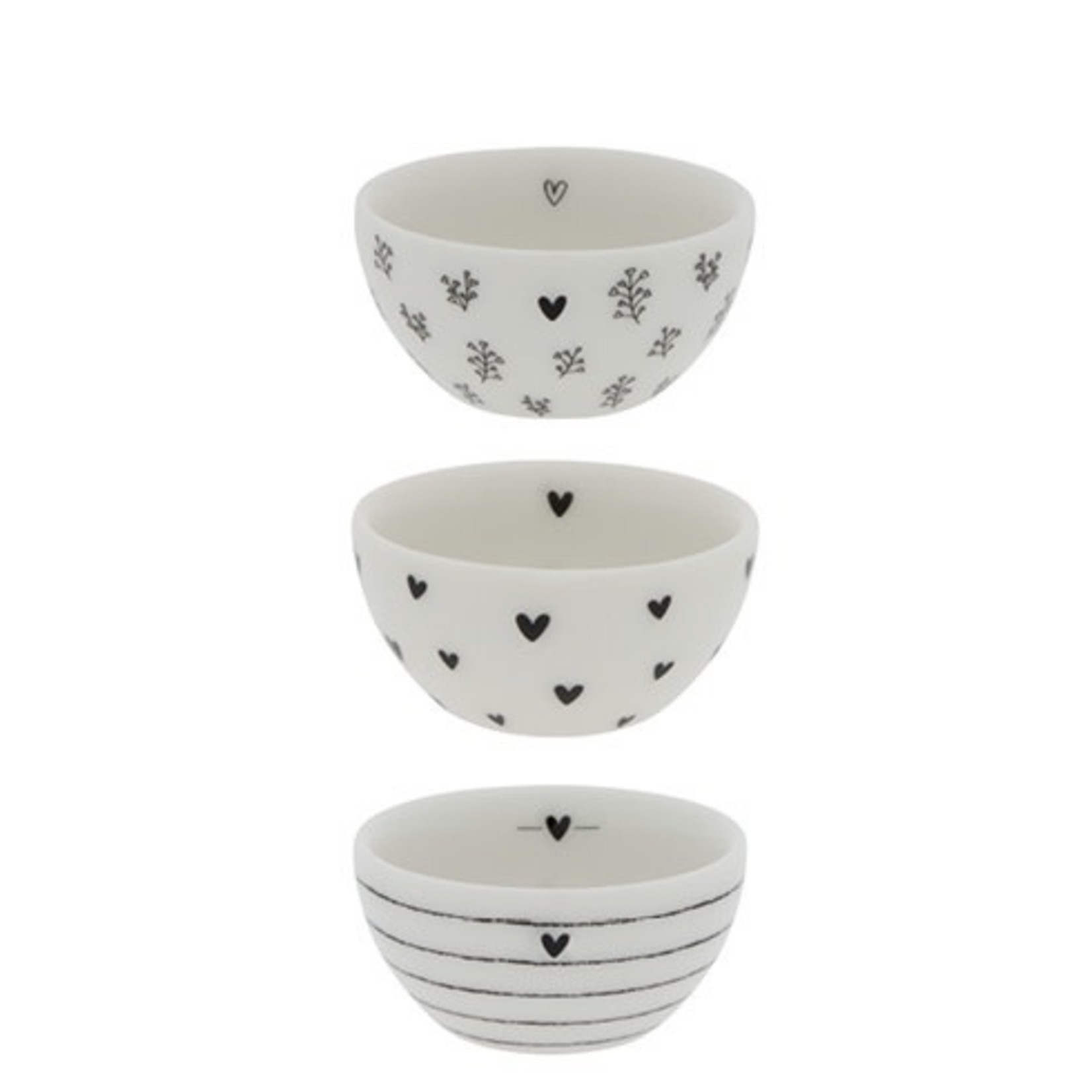 Bastion Collections Bowl XS Flowers white black 6x3 cm
