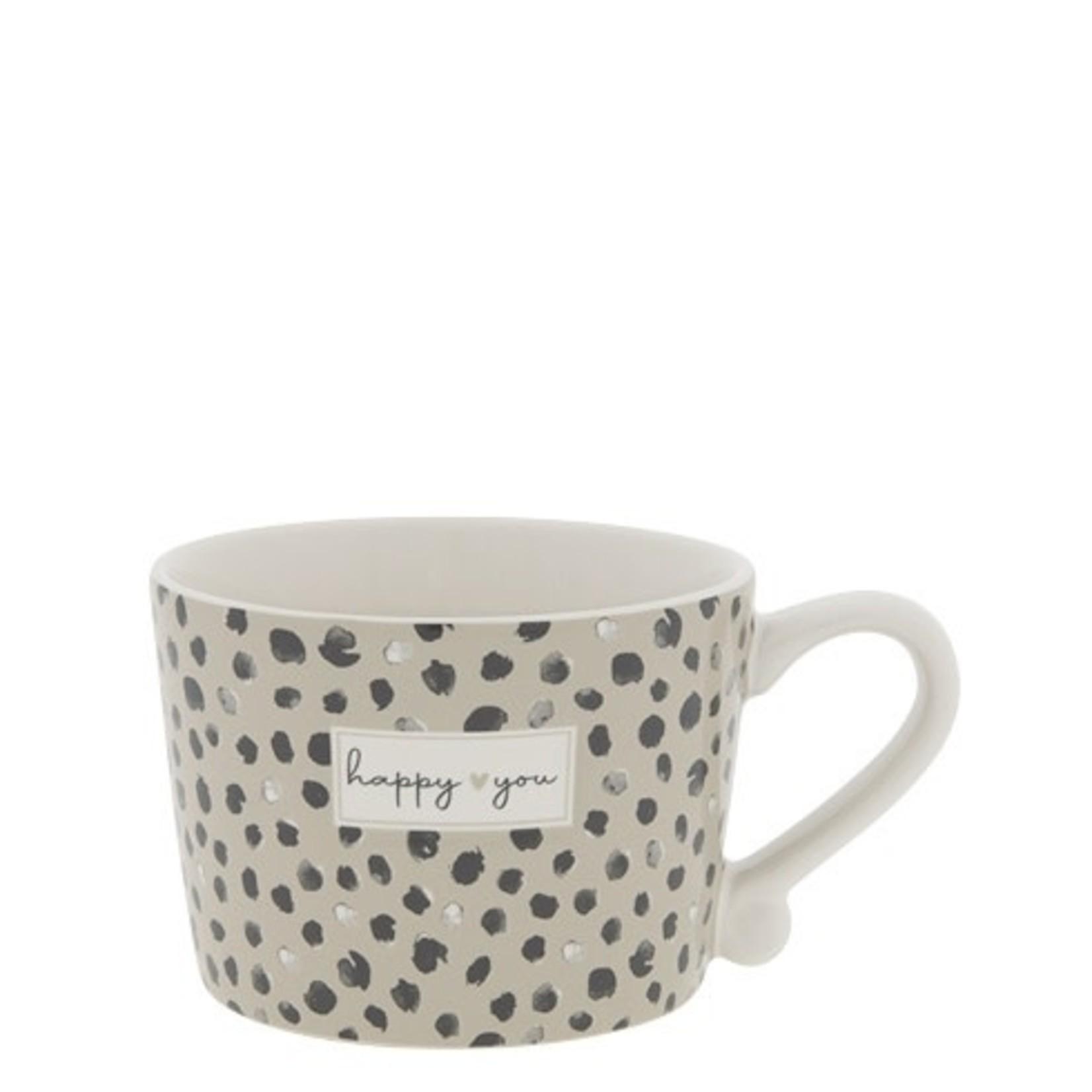 Bastion Collections Cup Confetti Happy You white/black/titane 8.5x7x6 cm