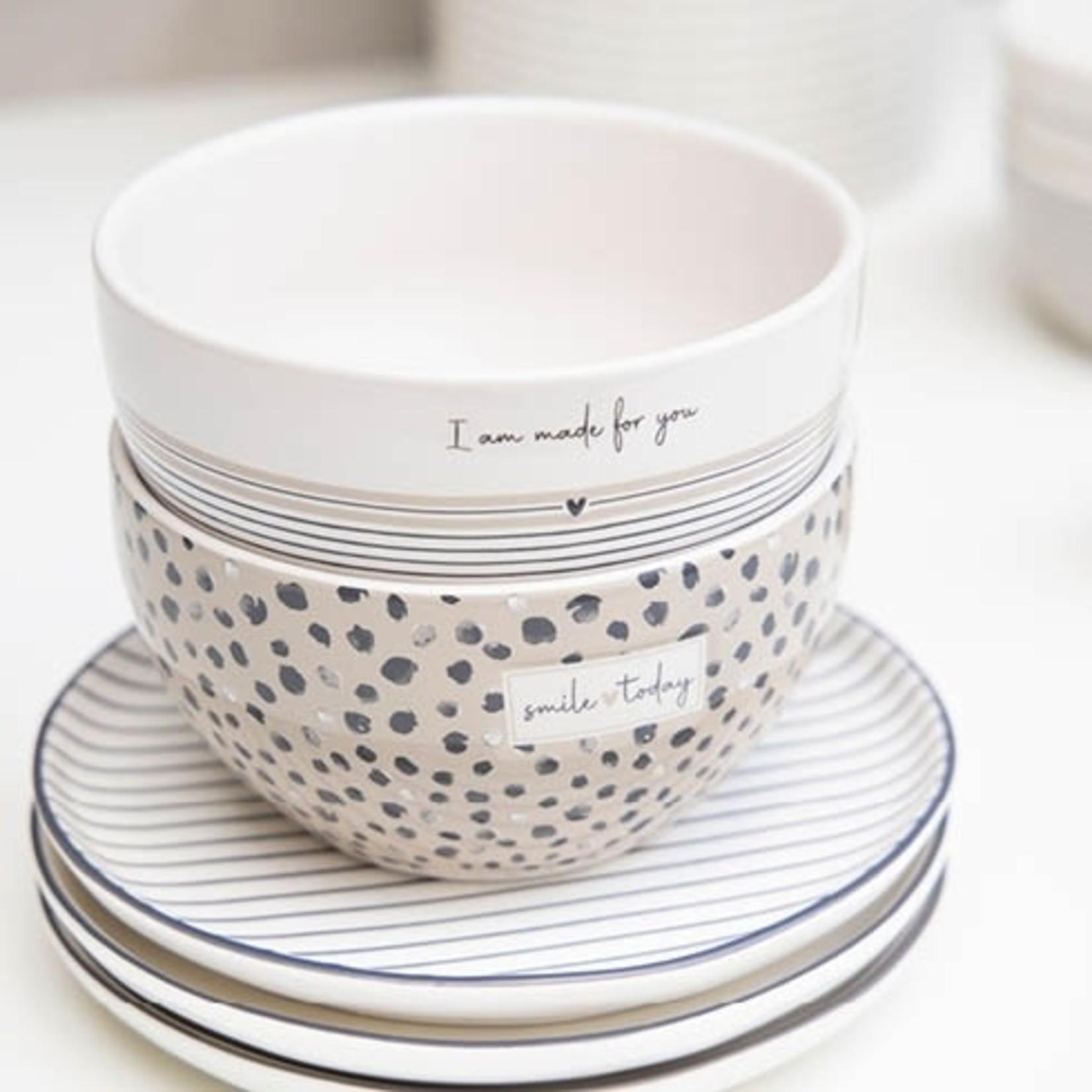 Bastion Collections Bowl Confetti Smile Today titane/black13x7 cm