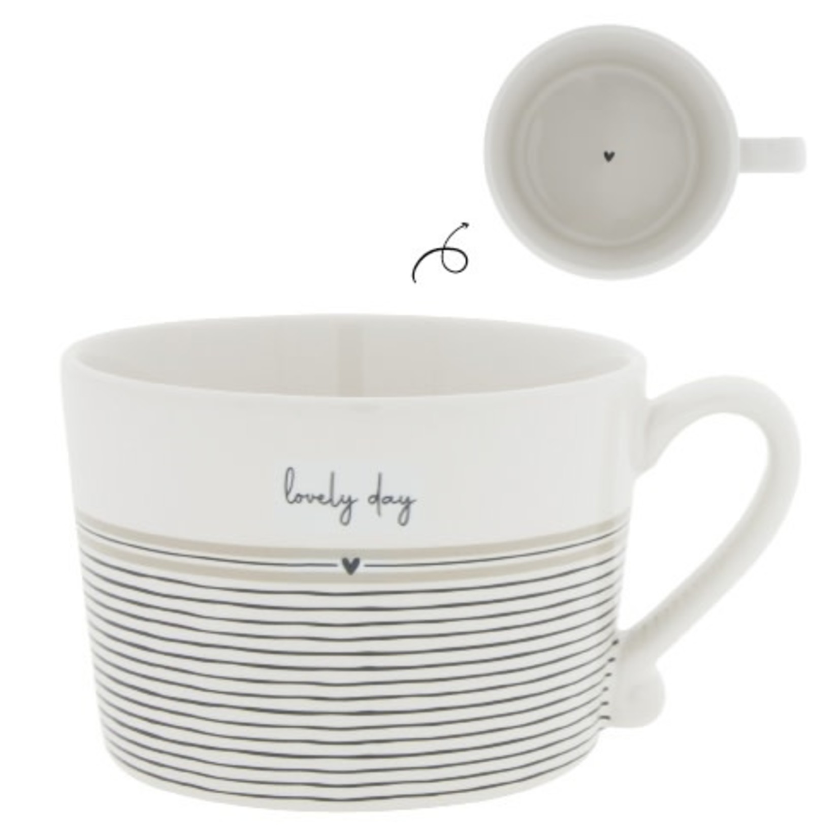 Bastion Collections Cup Lovely Day stripes/white/black/titane 10x8x7 cm