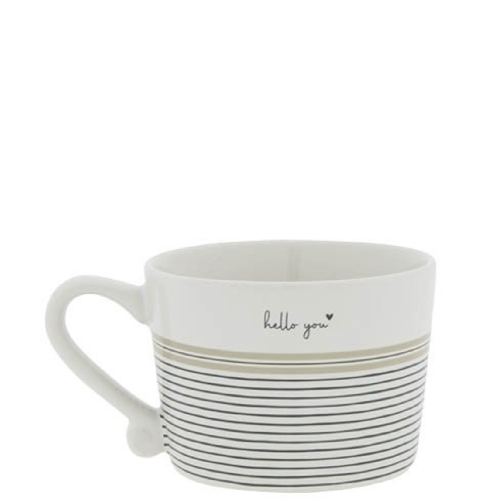 Bastion Collections Cup Coffee / Hello You stripes white/black/titane 8,5x7x6 cm