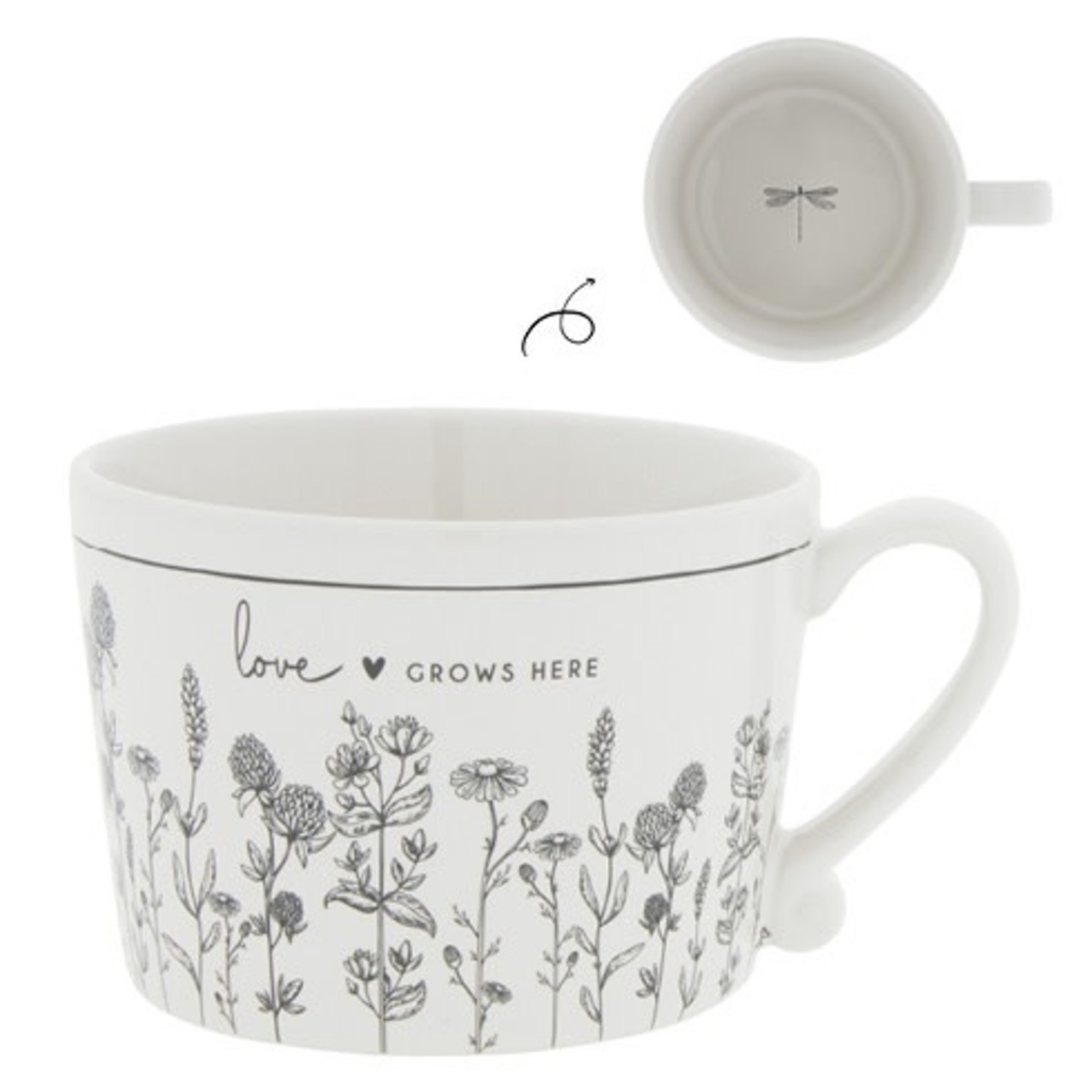Bastion Collections Cup Love grows here white/black 10x8x7 cm