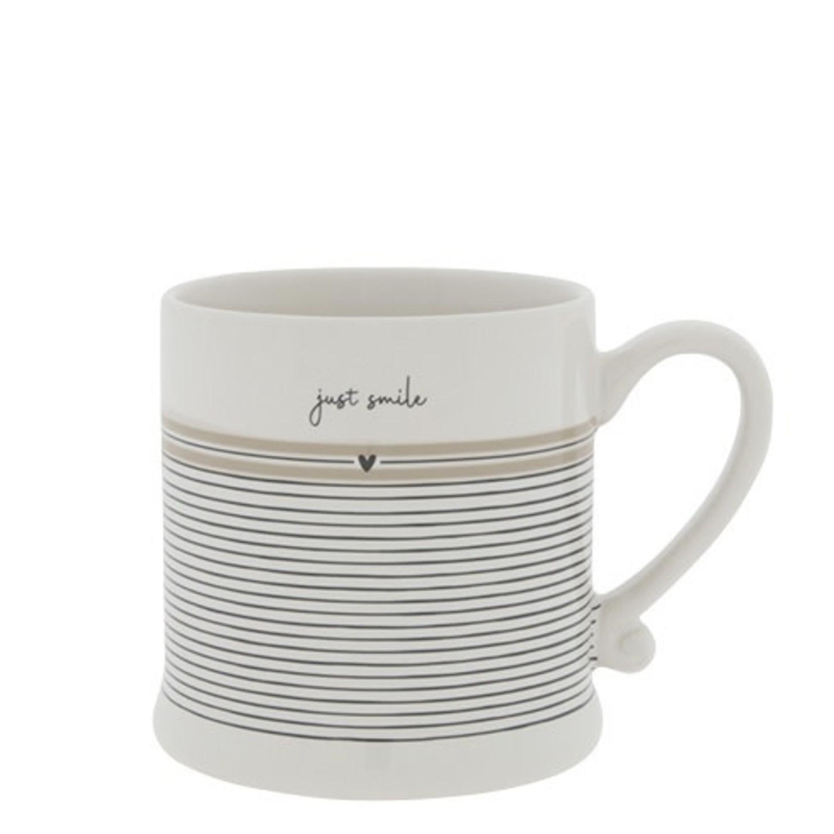 Bastion Collections Mug Just Smile stripes white/black/titane 8x7 cm